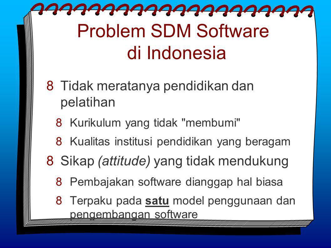 Problem SDM Software di Indonesia  Tidak meratanya pendidikan dan pelatihan  Kurikulum yang tidak membumi  Kualitas institusi pendidikan yang beragam  Sikap (attitude) yang tidak mendukung  Pembajakan software dianggap hal biasa  Terpaku pada satu model penggunaan dan pengembangan software