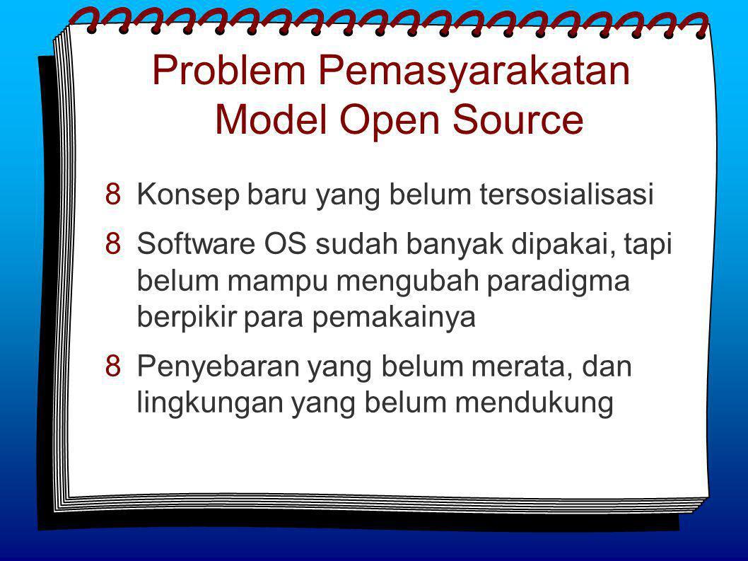 Problem Pemasyarakatan Model Open Source  Konsep baru yang belum tersosialisasi  Software OS sudah banyak dipakai, tapi belum mampu mengubah paradigma berpikir para pemakainya  Penyebaran yang belum merata, dan lingkungan yang belum mendukung