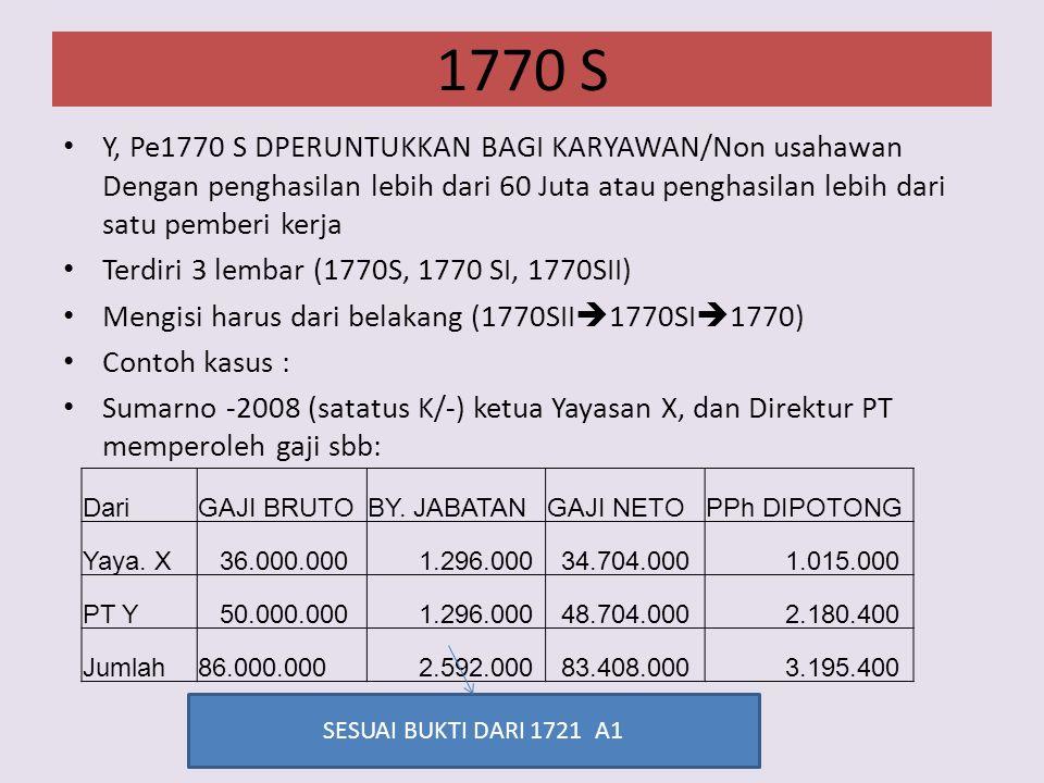 1770 S Y, Pe1770 S DPERUNTUKKAN BAGI KARYAWAN/Non usahawan Dengan penghasilan lebih dari 60 Juta atau penghasilan lebih dari satu pemberi kerja Terdiri 3 lembar (1770S, 1770 SI, 1770SII) Mengisi harus dari belakang (1770SII  1770SI  1770) Contoh kasus : Sumarno -2008 (satatus K/-) ketua Yayasan X, dan Direktur PT memperoleh gaji sbb: DariGAJI BRUTOBY.