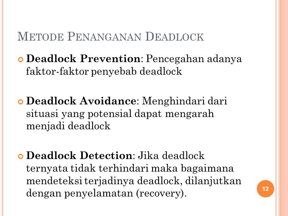 M ETODE P ENANGANAN D EADLOCK Deadlock Prevention : Pencegahan adanya faktor-faktor penyebab deadlock Deadlock Avoidance : Menghindari dari situasi yang potensial dapat mengarah menjadi deadlock Deadlock Detection : Jika deadlock ternyata tidak terhindari maka bagaimana mendeteksi terjadinya deadlock, dilanjutkan dengan penyelamatan (recovery).