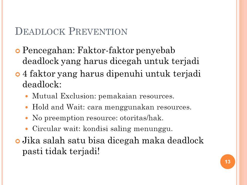 D EADLOCK P REVENTION Pencegahan: Faktor-faktor penyebab deadlock yang harus dicegah untuk terjadi 4 faktor yang harus dipenuhi untuk terjadi deadlock: Mutual Exclusion: pemakaian resources.