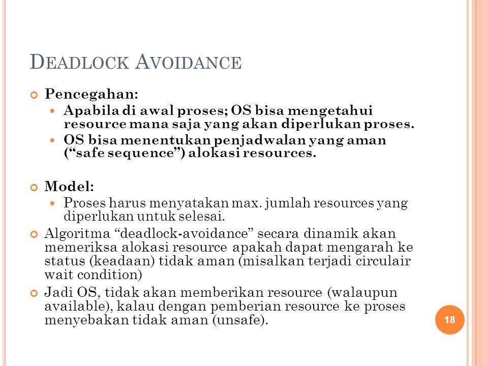 D EADLOCK A VOIDANCE Pencegahan: Apabila di awal proses; OS bisa mengetahui resource mana saja yang akan diperlukan proses. OS bisa menentukan penjadw