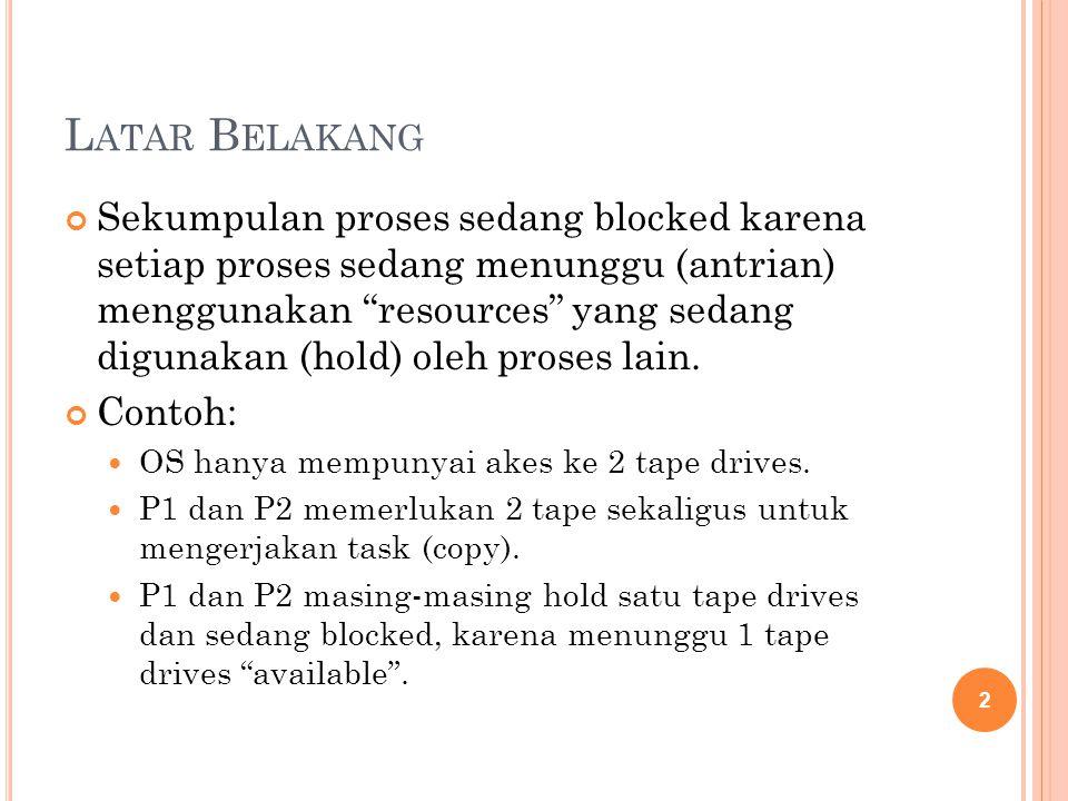L ATAR B ELAKANG Sekumpulan proses sedang blocked karena setiap proses sedang menunggu (antrian) menggunakan resources yang sedang digunakan (hold) oleh proses lain.