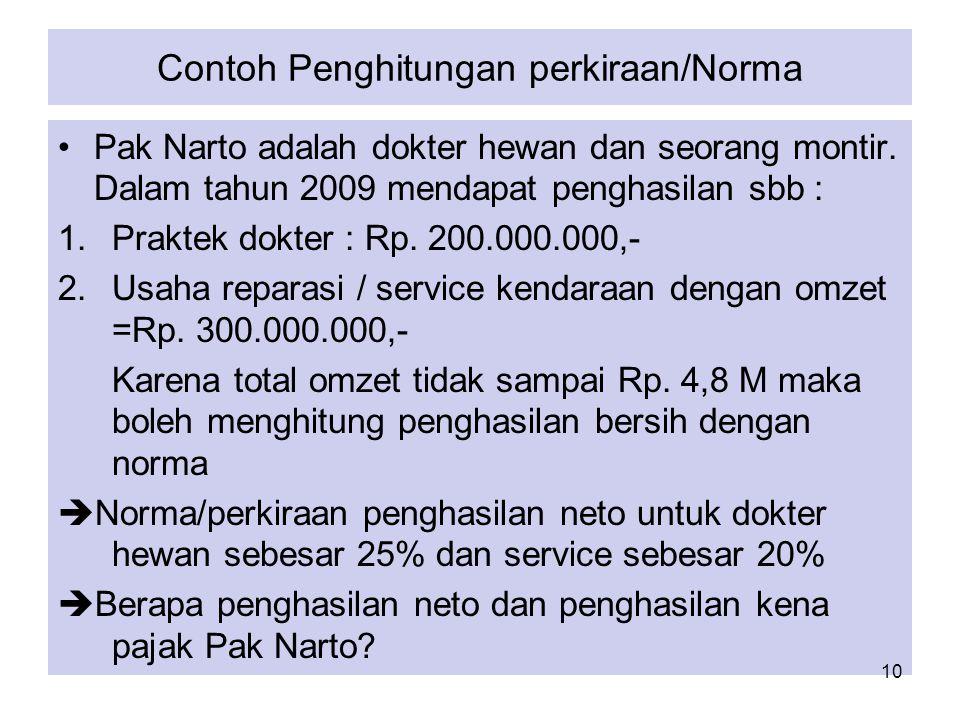 Contoh Penghitungan perkiraan/Norma 1.