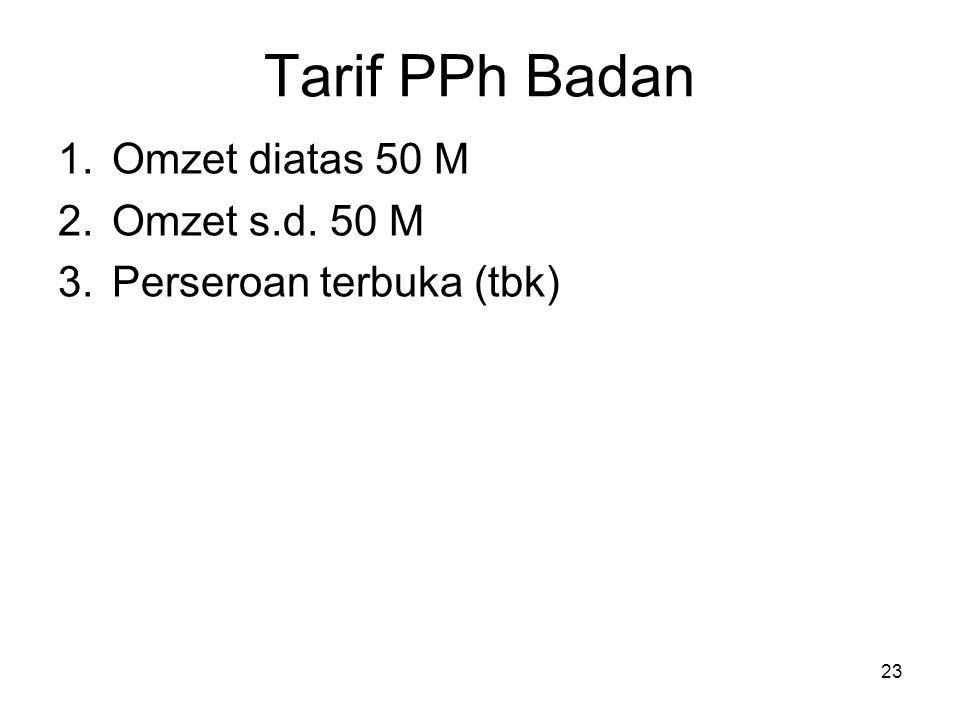TARIF WP BADAN – Omzet diatas 50 M (Pasal 17 ayat (1) huruf b) 24 Ketentuan Lama : Ketentuan Baru (Mulai tahun 2009) khusus WP Badan dgn omzet diatas 50 M : TARIFTARIF 24