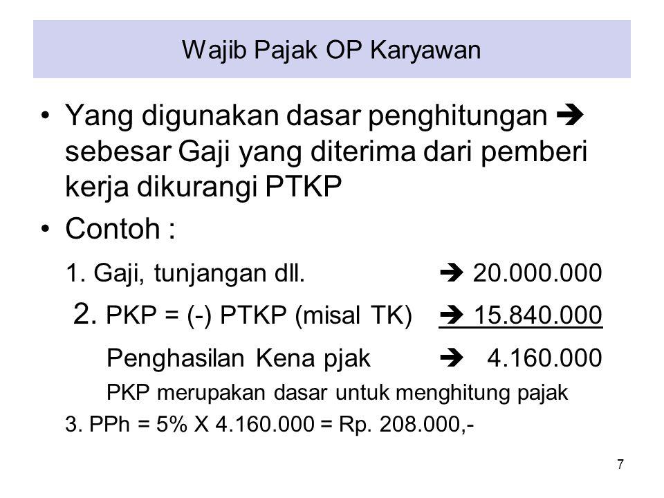 Wajib Pajak OP Usahawan WP orang Pribadi (WP OP) usahawan/ pekerjaan bebas  penghitungan penghasilan bersih adalah : Omzet/th < Rp.