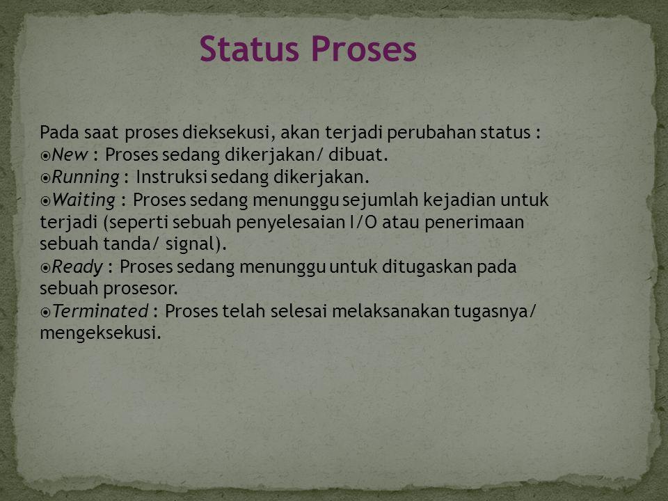 Diagram perubahan status proses  Kusumadewi sri.2002.Sistem Operasi.Yogyakarta:Graha Ilmu halaman 52