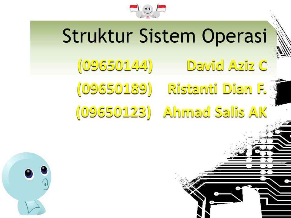 Komponen dalam Sistem  Manajemen Proses  Manajemen Memori  Manajemen Storage/Data  Manajemen I/O dan Berkas (File)  Proteksi  Networking  Interface dengan user (command interpreter)