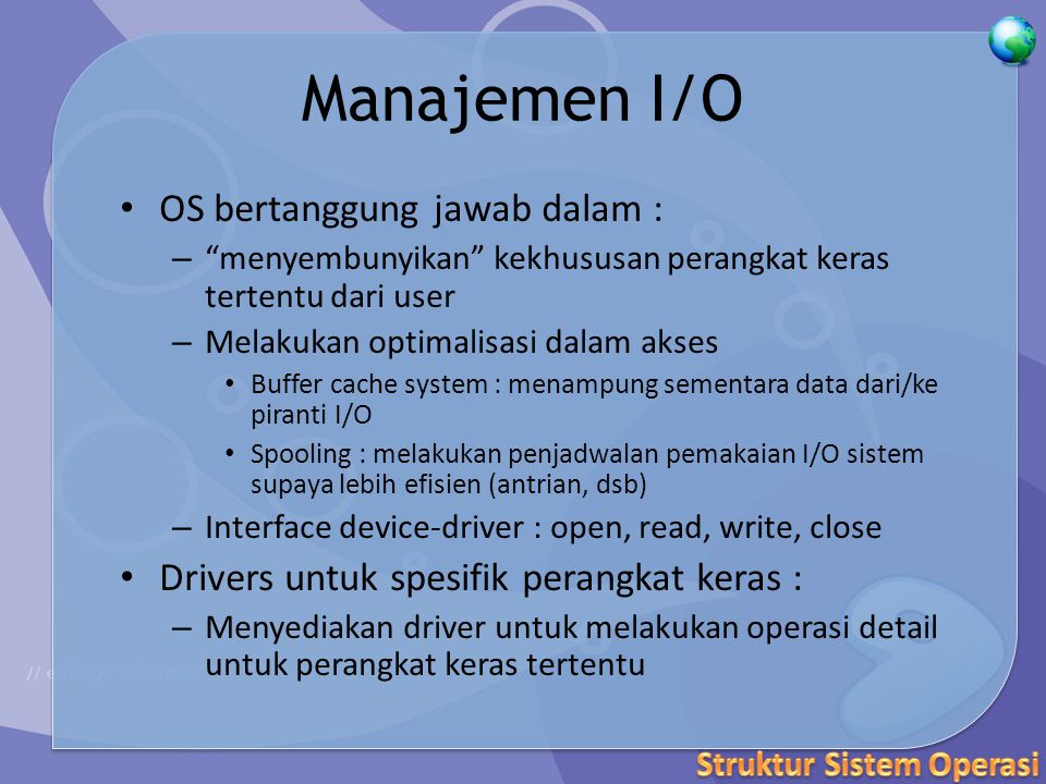 Java Virtual Machine (1) Program Java yang telah di-compile adalah platform-neutral bytecodes yang dieksekusi oleh Java Virtual Machine(JVM) JVM terdiridari : – class loader – class verifier – runtime interpreter Just In-Time(JIT) kompilator meningkatkan kinerja