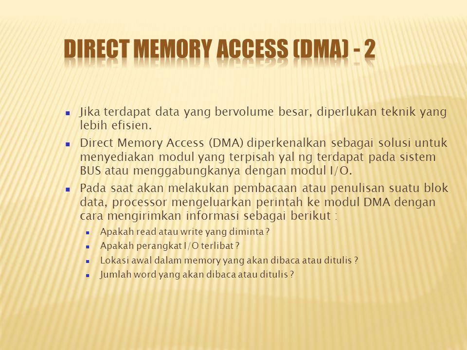 Jika terdapat data yang bervolume besar, diperlukan teknik yang lebih efisien. Direct Memory Access (DMA) diperkenalkan sebagai solusi untuk menyediak