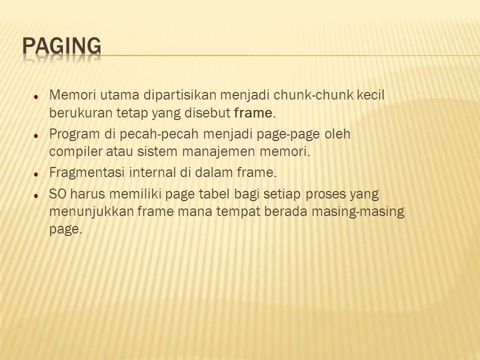 Memori utama dipartisikan menjadi chunk-chunk kecil berukuran tetap yang disebut frame. Program di pecah-pecah menjadi page-page oleh compiler atau si