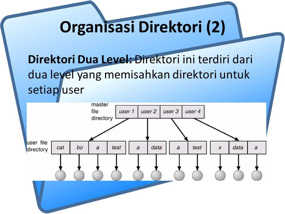 Organisasi Direktori (2) Direktori Dua Level: Direktori ini terdiri dari dua level yang memisahkan direktori untuk setiap user