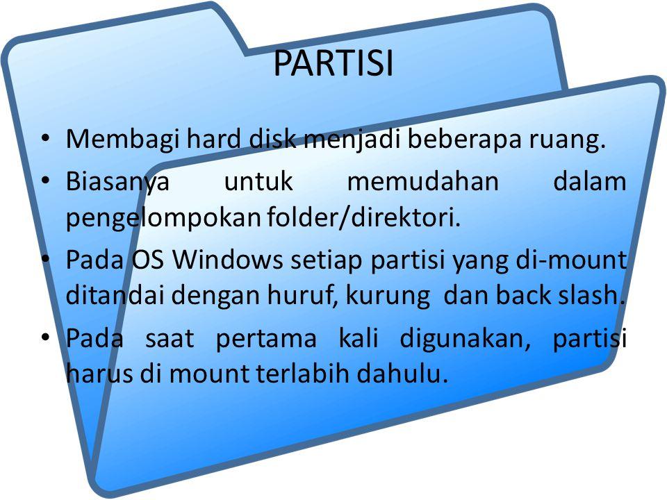 PARTISI Membagi hard disk menjadi beberapa ruang. Biasanya untuk memudahan dalam pengelompokan folder/direktori. Pada OS Windows setiap partisi yang d