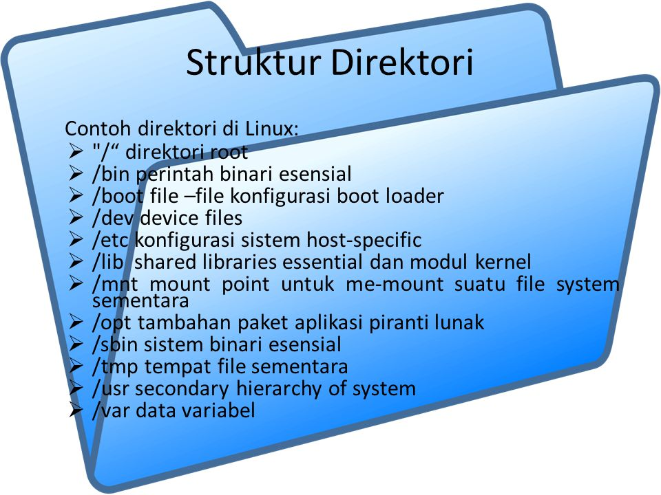 Struktur Direktori Contoh direktori di Linux: 