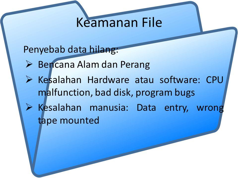 Keamanan File Penyebab data hilang:  Bencana Alam dan Perang  Kesalahan Hardware atau software: CPU malfunction, bad disk, program bugs  Kesalahan manusia: Data entry, wrong tape mounted