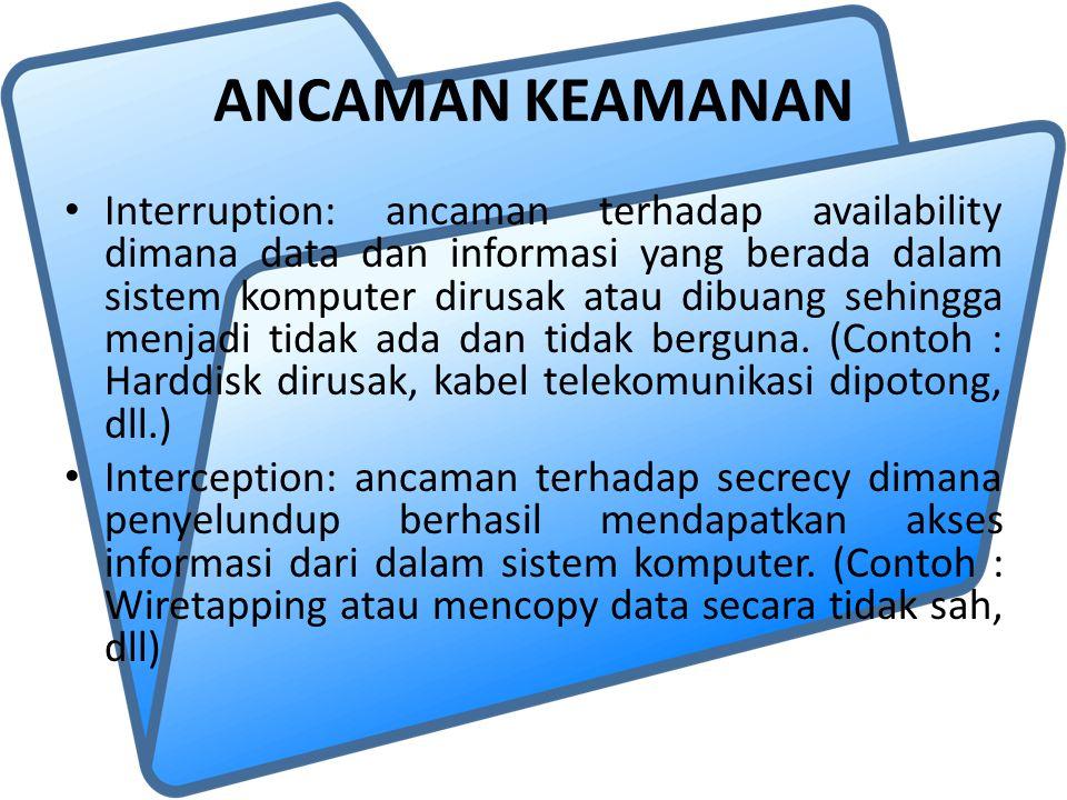 ANCAMAN KEAMANAN Interruption: ancaman terhadap availability dimana data dan informasi yang berada dalam sistem komputer dirusak atau dibuang sehingga menjadi tidak ada dan tidak berguna.