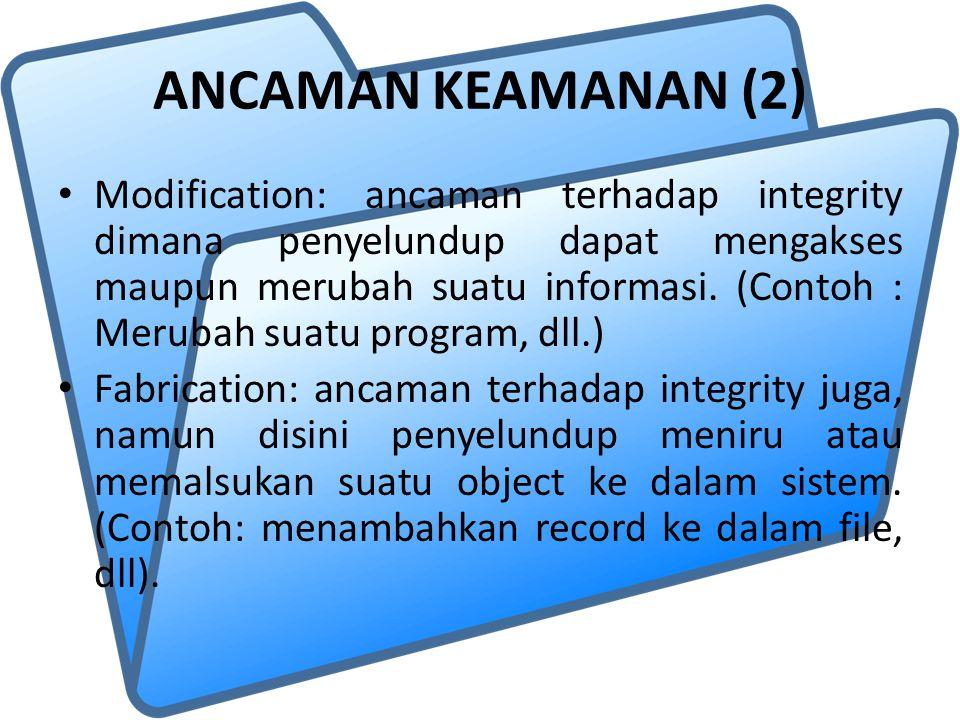 ANCAMAN KEAMANAN (2) Modification: ancaman terhadap integrity dimana penyelundup dapat mengakses maupun merubah suatu informasi. (Contoh : Merubah sua