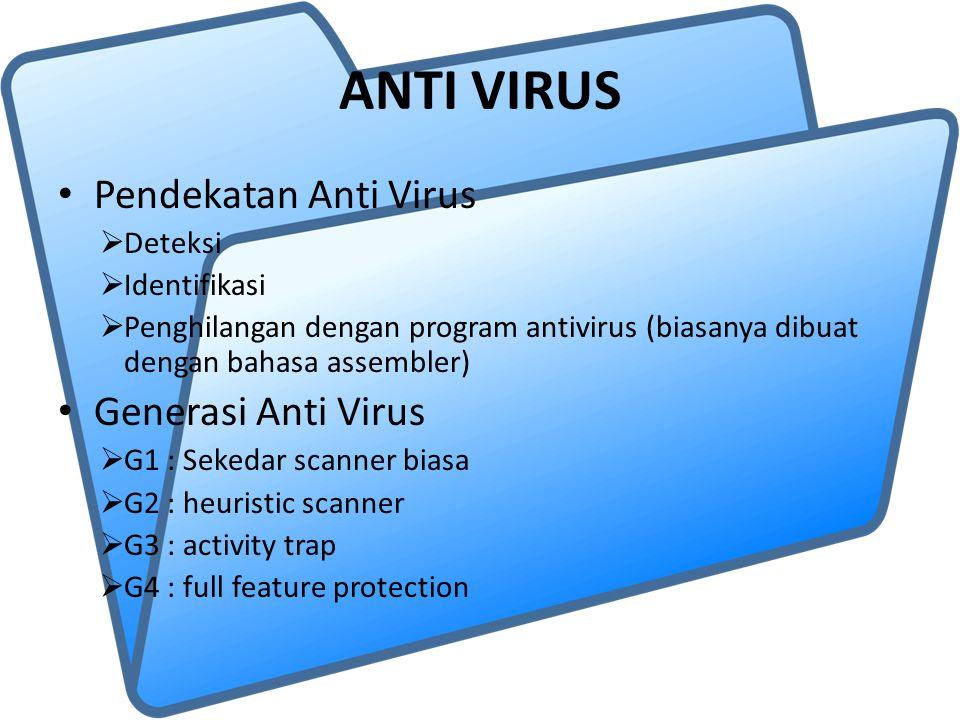 ANTI VIRUS Pendekatan Anti Virus  Deteksi  Identifikasi  Penghilangan dengan program antivirus (biasanya dibuat dengan bahasa assembler) Generasi Anti Virus  G1 : Sekedar scanner biasa  G2 : heuristic scanner  G3 : activity trap  G4 : full feature protection