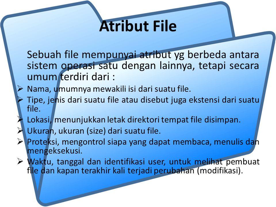 Atribut File Sebuah file mempunyai atribut yg berbeda antara sistem operasi satu dengan lainnya, tetapi secara umum terdiri dari :  Nama, umumnya mew