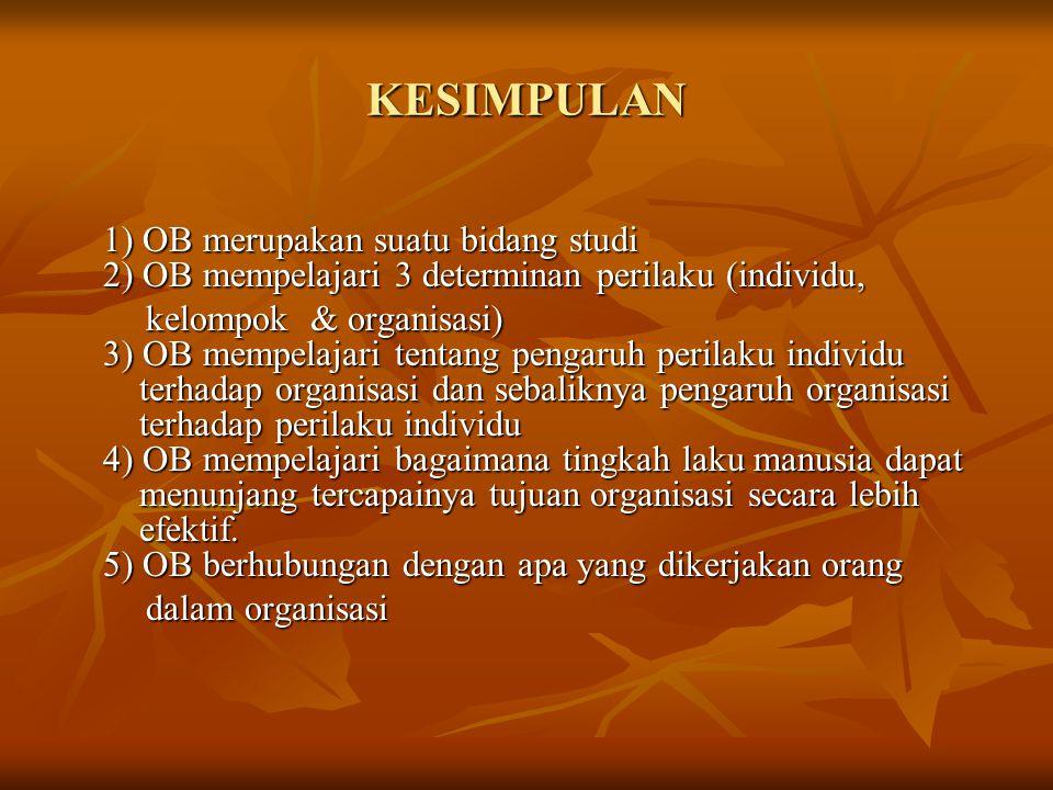 KESIMPULAN 1) OB merupakan suatu bidang studi 2) OB mempelajari 3 determinan perilaku (individu, kelompok & organisasi) 3) OB mempelajari tentang peng