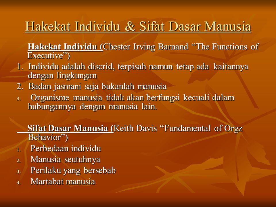 """Hakekat Individu & Sifat Dasar Manusia Hakekat Individu (Chester Irving Barnand """"The Functions of Executive"""") 1. Individu adalah discrid, terpisah nam"""