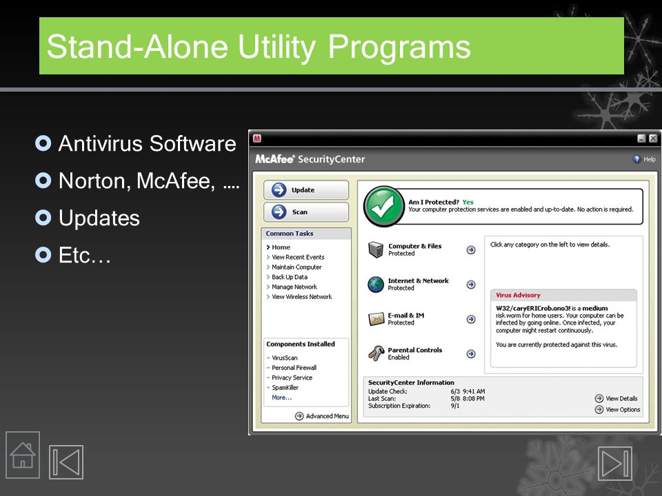 Stand-Alone Utility Programs  Antivirus Software  Norton, McAfee, ….  Updates  Etc…
