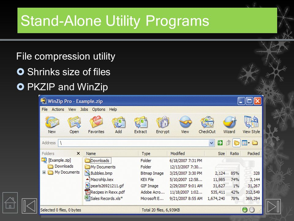 Stand-Alone Utility Programs File compression utility  Shrinks size of files  PKZIP and WinZip