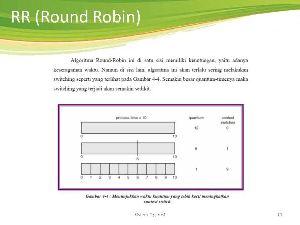 Sistem Operasi18 RR (Round Robin) Merupakan penjadwalan preemptive. Setiap proses dianggap penting dan mendapat jatah waktu CPU (time slice/quantum) t