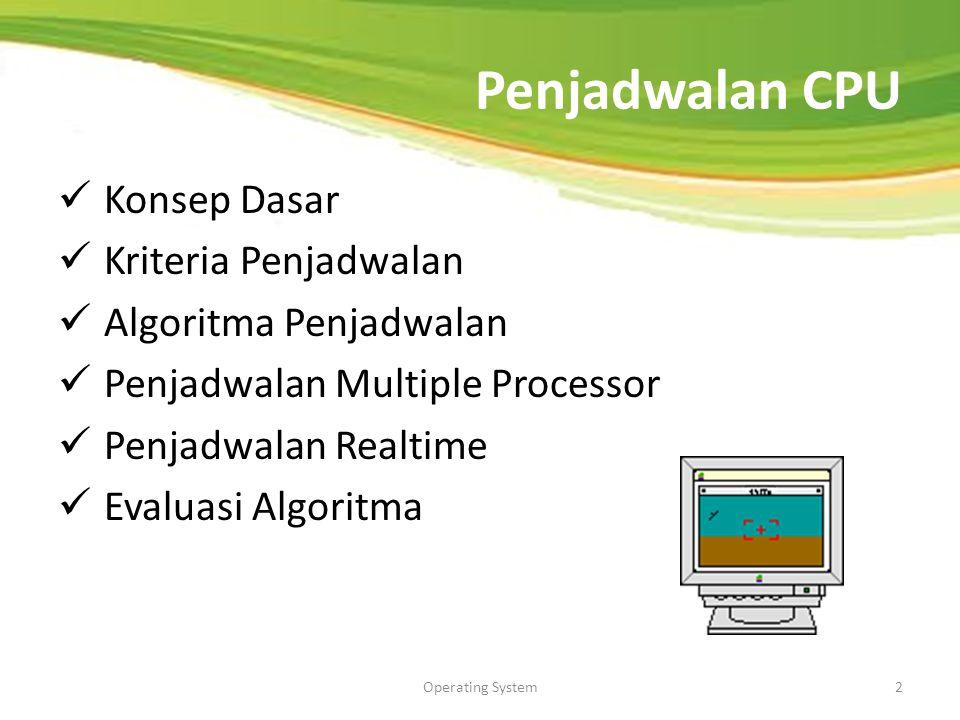 Operating System2 Penjadwalan CPU Konsep Dasar Kriteria Penjadwalan Algoritma Penjadwalan Penjadwalan Multiple Processor Penjadwalan Realtime Evaluasi Algoritma