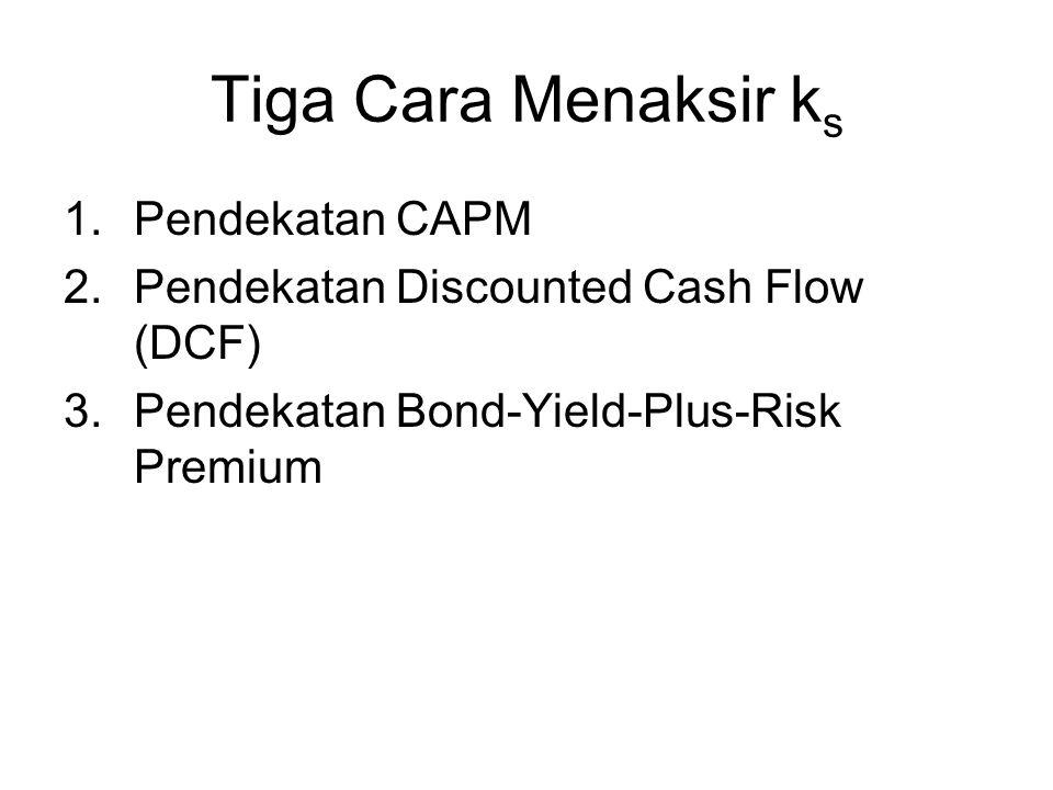 Tiga Cara Menaksir k s 1.Pendekatan CAPM 2.Pendekatan Discounted Cash Flow (DCF) 3.Pendekatan Bond-Yield-Plus-Risk Premium
