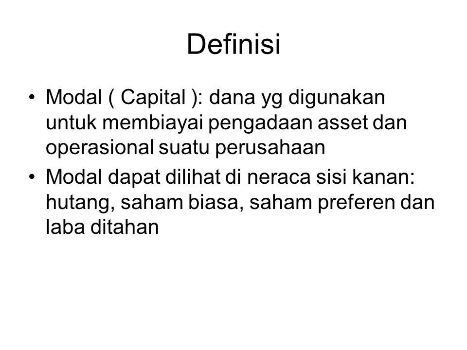 Definisi Modal ( Capital ): dana yg digunakan untuk membiayai pengadaan asset dan operasional suatu perusahaan Modal dapat dilihat di neraca sisi kanan: hutang, saham biasa, saham preferen dan laba ditahan