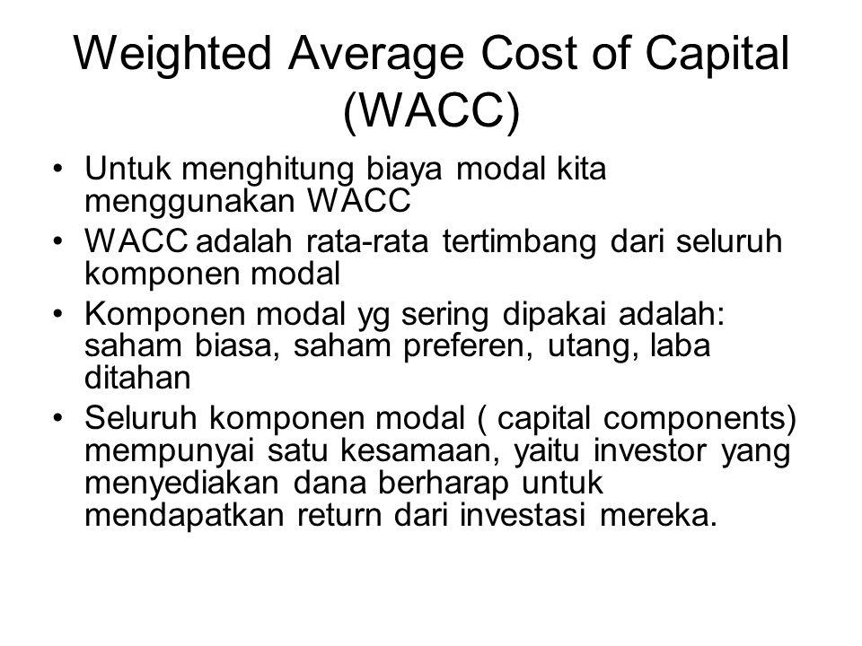 Weighted Average Cost of Capital (WACC) Untuk menghitung biaya modal kita menggunakan WACC WACC adalah rata-rata tertimbang dari seluruh komponen modal Komponen modal yg sering dipakai adalah: saham biasa, saham preferen, utang, laba ditahan Seluruh komponen modal ( capital components) mempunyai satu kesamaan, yaitu investor yang menyediakan dana berharap untuk mendapatkan return dari investasi mereka.