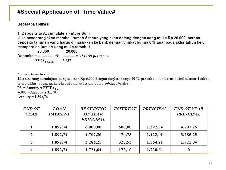 12 #Special Application of Time Value# Beberapa aplikasi : 1.