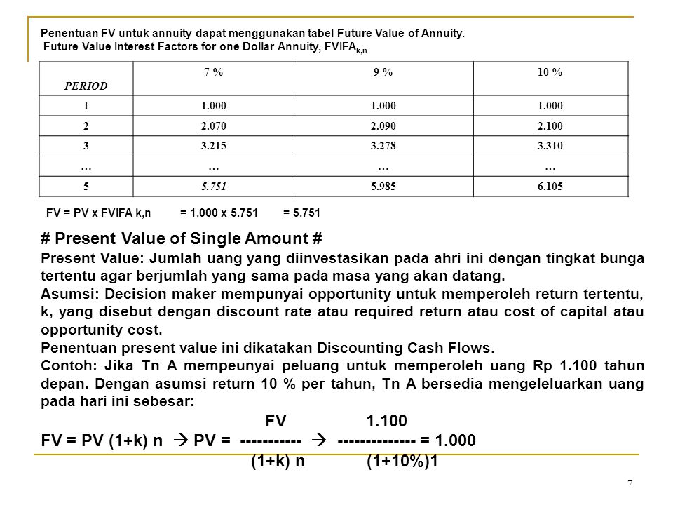 7 Penentuan FV untuk annuity dapat menggunakan tabel Future Value of Annuity. Future Value Interest Factors for one Dollar Annuity, FVIFA k,n PERIOD 7