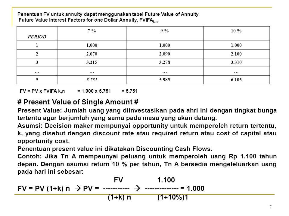 8 k = 10% 0 1 PV = 1.000 1.100 Penentuan present value ini juga dapat menggunakan Present Value Interest Factor yang ada dalam tabel Present Value Interest.