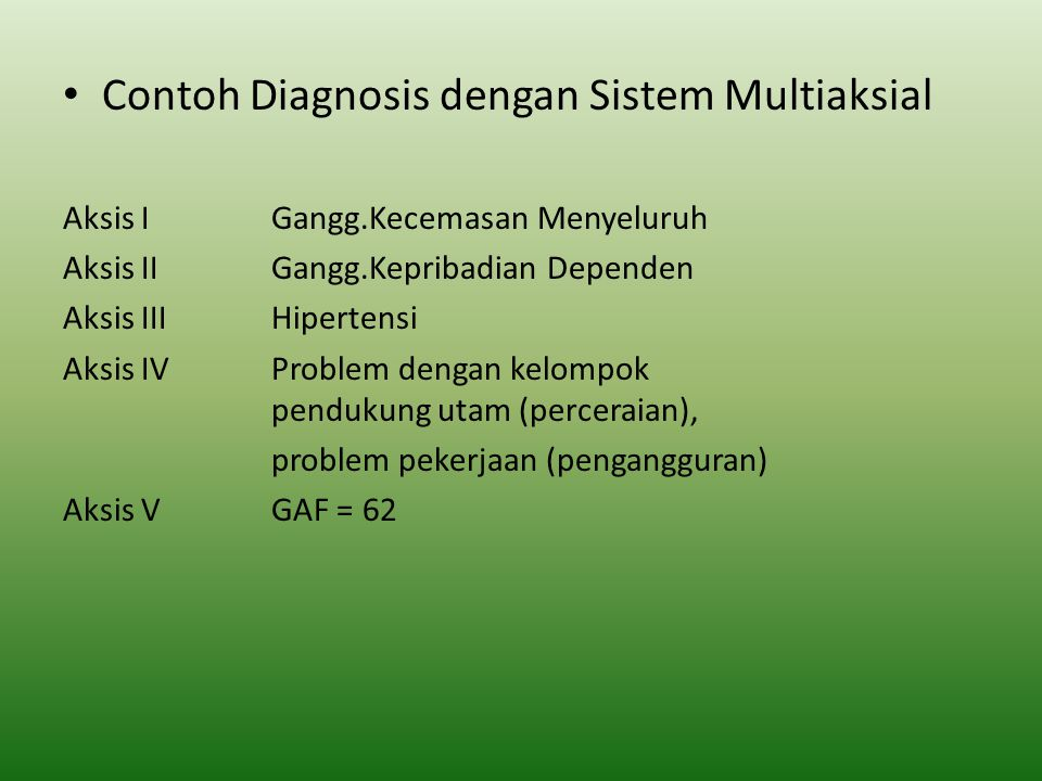 Contoh Diagnosis dengan Sistem Multiaksial Aksis IGangg.Kecemasan Menyeluruh Aksis IIGangg.Kepribadian Dependen Aksis IIIHipertensi Aksis IVProblem de