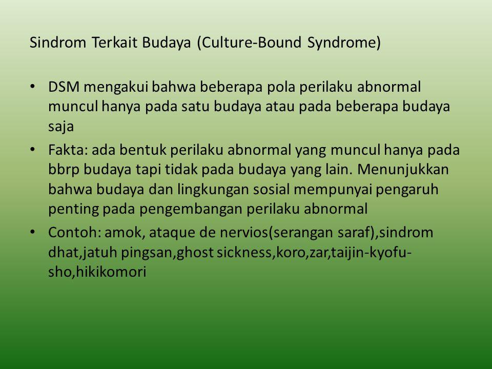 Sindrom Terkait Budaya (Culture-Bound Syndrome) DSM mengakui bahwa beberapa pola perilaku abnormal muncul hanya pada satu budaya atau pada beberapa bu