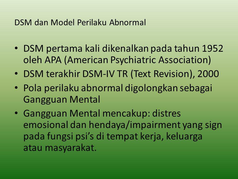 DSM dan Model Perilaku Abnormal DSM pertama kali dikenalkan pada tahun 1952 oleh APA (American Psychiatric Association) DSM terakhir DSM-IV TR (Text R
