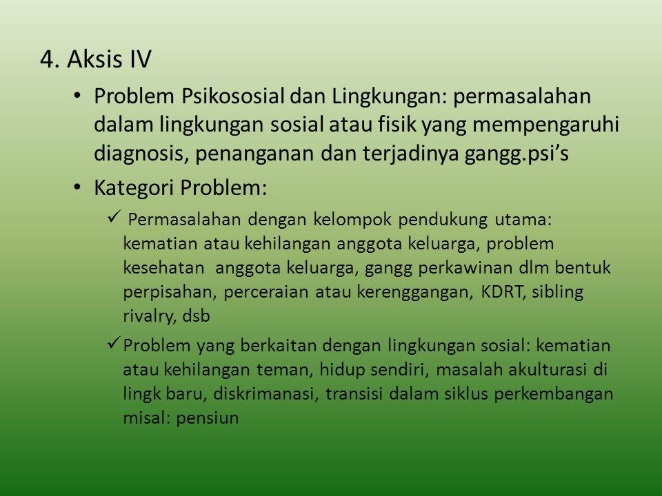4. Aksis IV Problem Psikososial dan Lingkungan: permasalahan dalam lingkungan sosial atau fisik yang mempengaruhi diagnosis, penanganan dan terjadinya