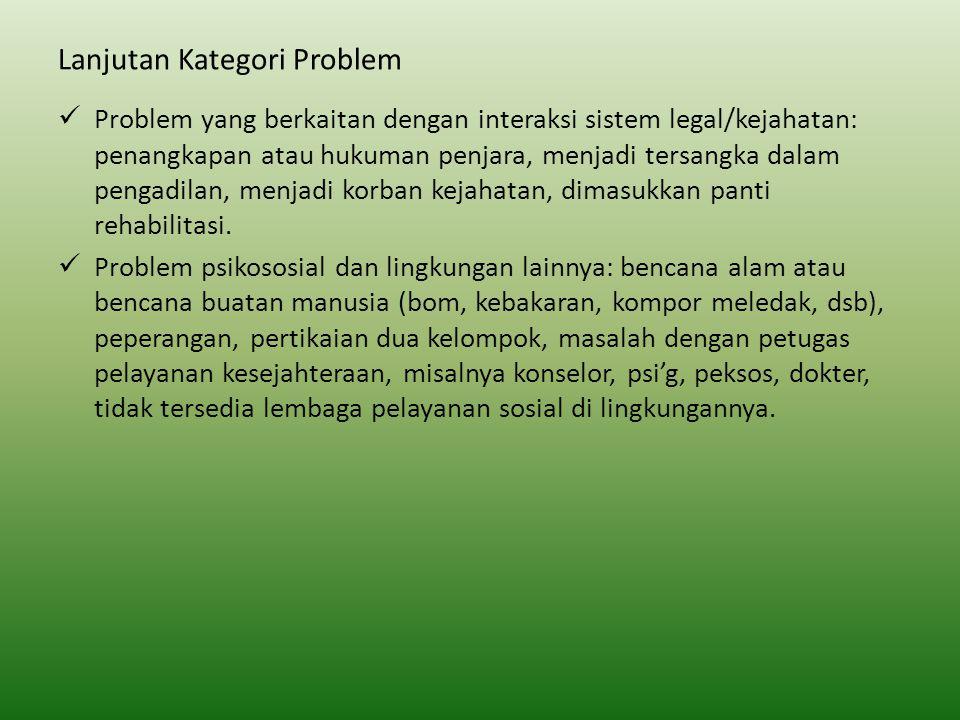 Lanjutan Kategori Problem Problem yang berkaitan dengan interaksi sistem legal/kejahatan: penangkapan atau hukuman penjara, menjadi tersangka dalam pe