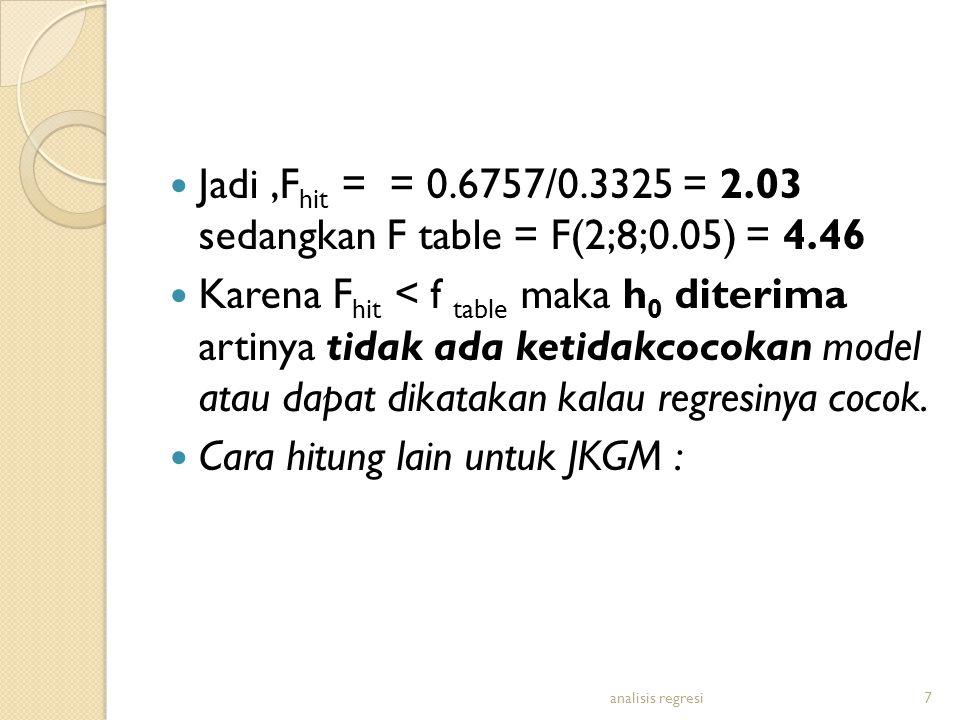 Jadi,F hit = = 0.6757/0.3325 = 2.03 sedangkan F table = F(2;8;0.05) = 4.46 Karena F hit < f table maka h 0 diterima artinya tidak ada ketidakcocokan m