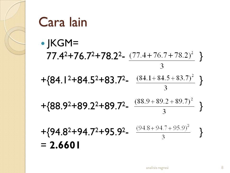 Cara lain JKGM= 77.4 2 +76.7 2 +78.2 2 -} +{84.1 2 +84.5 2 +83.7 2 -} +{88.9 2 +89.2 2 +89.7 2 -} +{94.8 2 +94.7 2 +95.9 2 -} = 2.6601 analisis regresi8