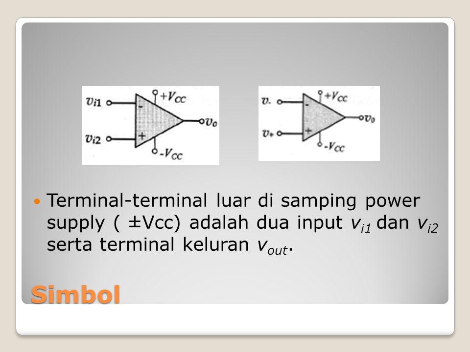 Simbol Terminal-terminal luar di samping power supply ( ±Vcc) adalah dua input v i1 dan v i2 serta terminal keluran v out.
