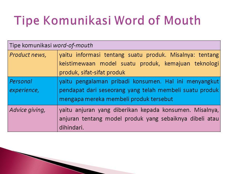 Tipe komunikasi word-of-mouth Product news, yaitu informasi tentang suatu produk.