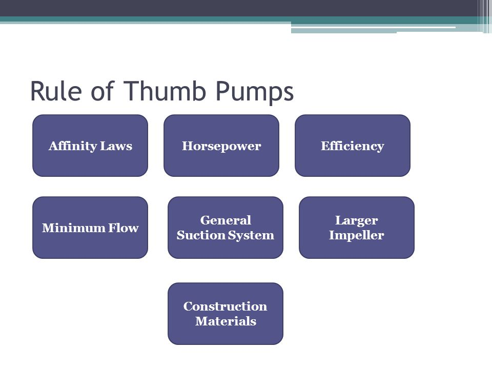 Rule of Thumb Pumps Affinity LawsHorsepowerEfficiency Minimum Flow General Suction System Larger Impeller Construction Materials