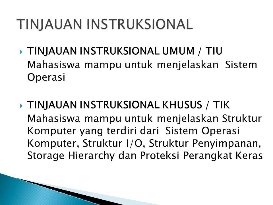  TINJAUAN INSTRUKSIONAL UMUM / TIU Mahasiswa mampu untuk menjelaskan Sistem Operasi  TINJAUAN INSTRUKSIONAL KHUSUS / TIK Mahasiswa mampu untuk menjelaskan Struktur Komputer yang terdiri dari Sistem Operasi Komputer, Struktur I/O, Struktur Penyimpanan, Storage Hierarchy dan Proteksi Perangkat Keras