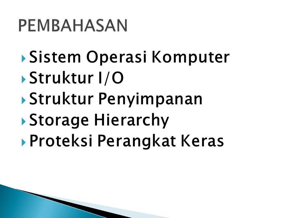 Sistem Operasi Komputer  Struktur I/O  Struktur Penyimpanan  Storage Hierarchy  Proteksi Perangkat Keras