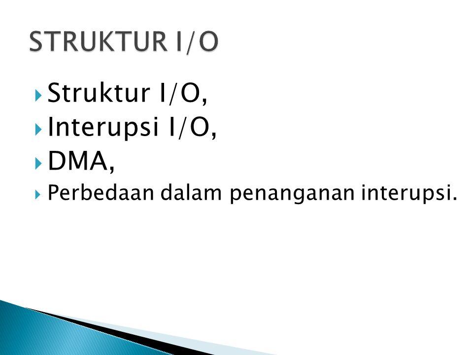  Struktur I/O,  Interupsi I/O,  DMA,  Perbedaan dalam penanganan interupsi.