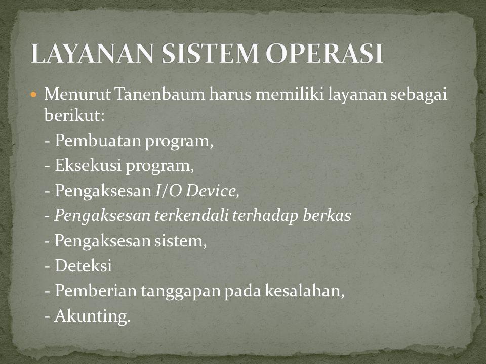 Menurut Tanenbaum harus memiliki layanan sebagai berikut: - Pembuatan program, - Eksekusi program, - Pengaksesan I/O Device, - Pengaksesan terkendali terhadap berkas - Pengaksesan sistem, - Deteksi - Pemberian tanggapan pada kesalahan, - Akunting.