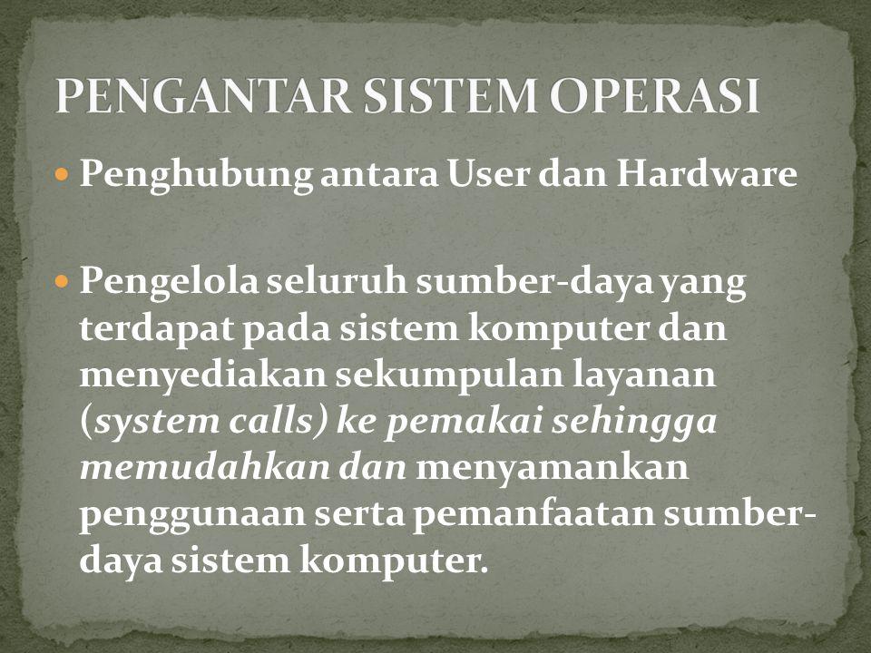 Penghubung antara User dan Hardware Pengelola seluruh sumber-daya yang terdapat pada sistem komputer dan menyediakan sekumpulan layanan (system calls) ke pemakai sehingga memudahkan dan menyamankan penggunaan serta pemanfaatan sumber- daya sistem komputer.